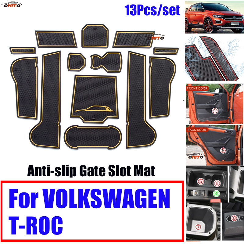 13Pcs/set For VOLKSWAGEN T-ROC Anti-slip Rubber Cup Mat Covers Dust-water Car Interior Decoration Door Groove Mat Gate Slot Pad 13Pcs/set For VOLKSWAGEN T-ROC Anti-slip Rubber Cup Mat Covers Dust-water Car Interior Decoration Door Groove Mat Gate Slot Pad