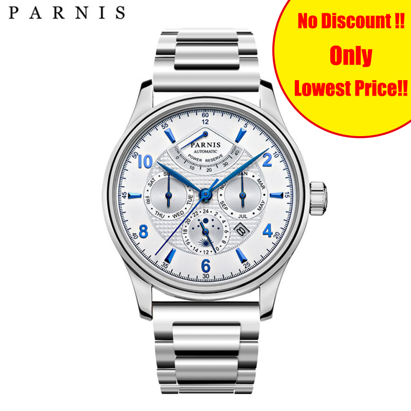 Parnis 42mm Stainless Steel Band Automatic Mechanical Mens Watches Moon Phase Power Reserve Men Watch Miyota Clock Gift for ManParnis 42mm Stainless Steel Band Automatic Mechanical Mens Watches Moon Phase Power Reserve Men Watch Miyota Clock Gift for Man