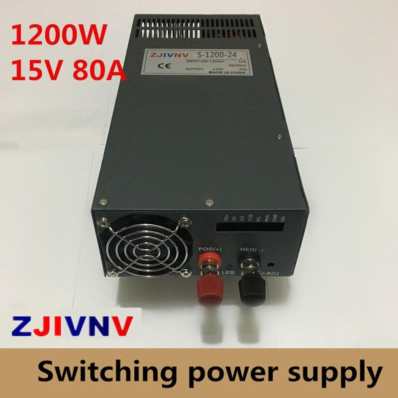 1200W 15v 80A Single Output Switching power supply Driver Transformers 220V 110V AC to DC15V smps For CNC Machine DIY LED CCTV