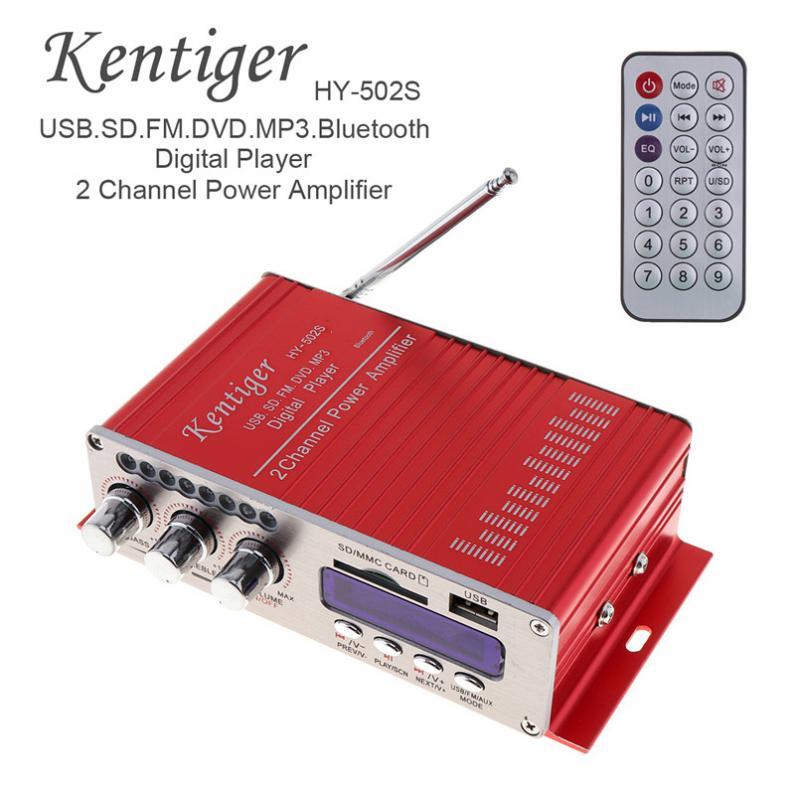 HY-502S 2-CH HI-FI Digital Bluetooth Audio Player Car Amplifier FM Radio Stereo Player Support SD / USB / MP3 / DVD Input