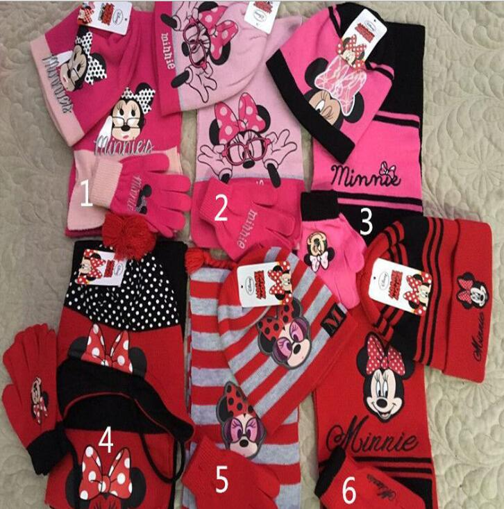1set Mickey Minnie Knit Beanie Hat Children Christmas Winter Knitted Scarf Gloves Hat Set Party Kids Gifts 2-8Y