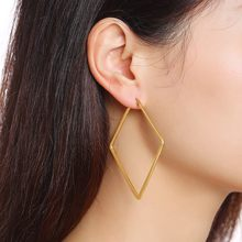 Geometric Big Square Hoop Earrings Women Stainless Steel Gold Tone Elegant Classic Ear Pendientes Hombre(China)