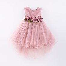 Girl Dress Mermaid Tulle Wedding Party Dress 2017 Summer Princess Dresses Clothes Ball Gown with Flowers Size 4-9T pink green(China)