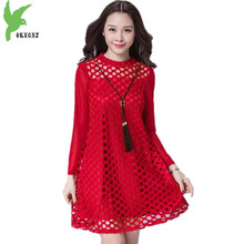 OKXGNZ Large Size Lace Lady Dress 2017Spring Summer New Korean Version Fashion Solid Color A word
