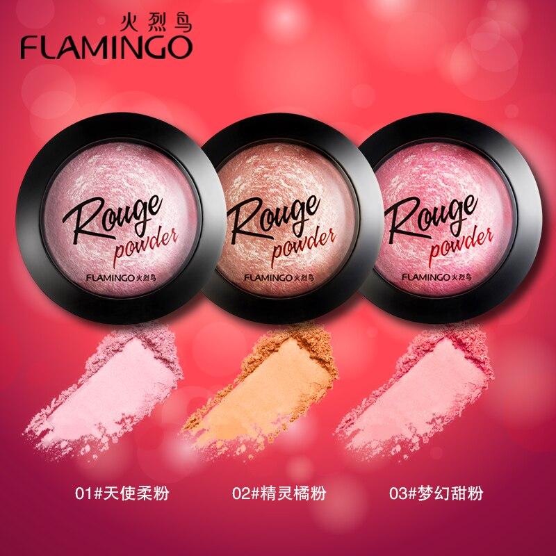 beleza rosto maquiagem marca flamingo feltro blush blush com espelho escova bochecha sedoso 3 cores blush