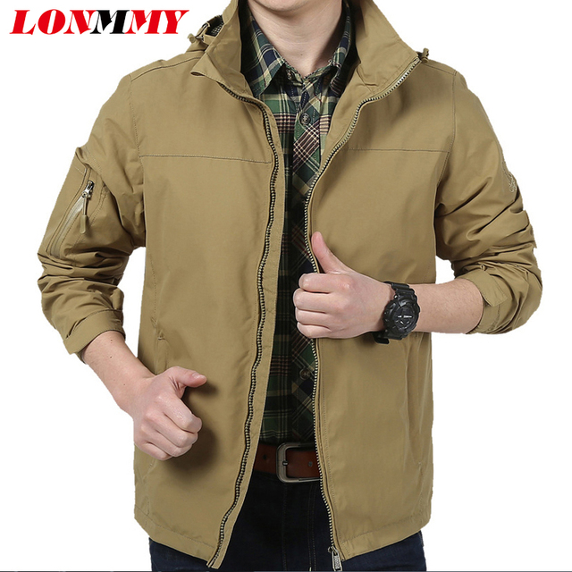 d97bcaad2 LONMMY M-4XL Bomber jacket men casual Waterproof Windbreaker Hoodies mens  jackets and coats hooded Brand-clothing 2018 autumn
