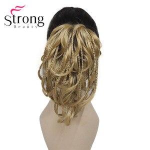Image 2 - StrongBeauty قصيرة صغيرة الضفائر مزين مستقيم متموجة شعر مستعار لعمل تسريحة ذيل الحصان هيربيسي المخلب كليب اللون الخيارات