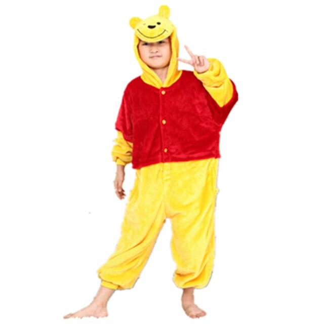 Anime Yellow Bear jumpsuit Cosplay bear Onesie Children Kids Flannel  Animals Pajamas Anime Cartoon bear Costumes kids Sleepwear 186fc39c3bbd