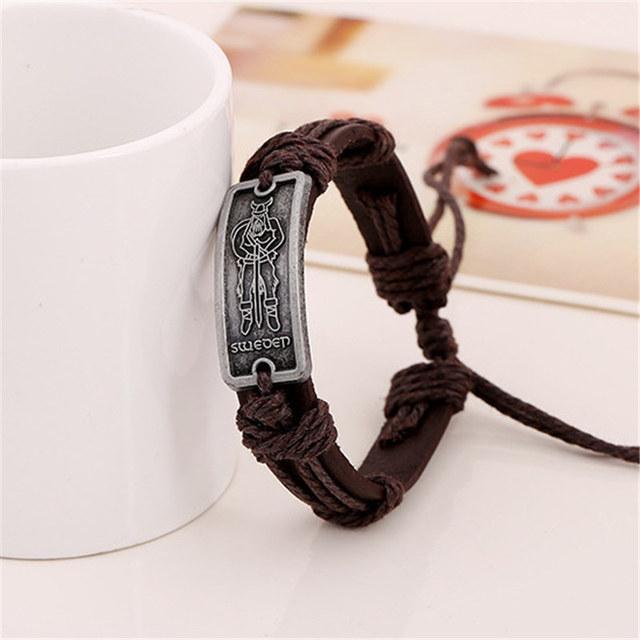 Viking Leather Bracelet Adjustable With A Swedish Viking For Both