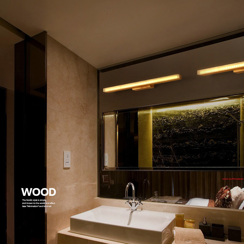Horsten Janpan Stil Holz Spiegel Lampe 40/60/80 Cm Lange LED Wandleuchte  Badezimmer Schlafzimmer Beleuchtung Zeichnung Zimmer Wandleuchten 90 240 V  In ...