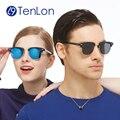 Tenlon gafas polarizadas de los hombres clásicos cejas medio borde gafas de sol lentes de colores venta caliente gafas de sol feminino gafas de sol