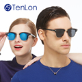 Tenlon sobrancelhas clássicos dos homens metade aro óculos polarizados óculos de sol coloridos da lente venda quente oculos de sol feminino óculos de sol