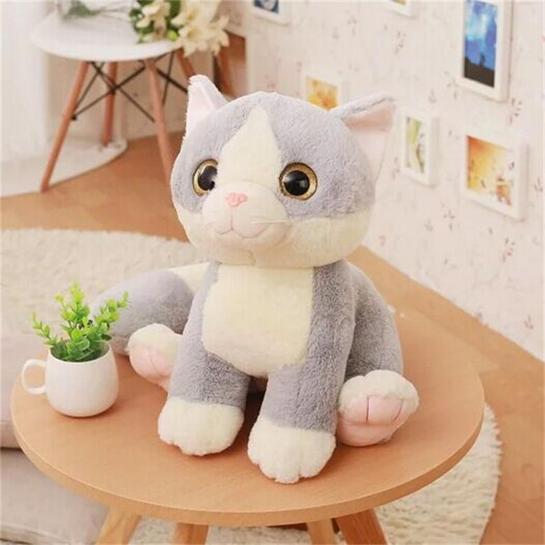 b7c6eed93e8 New Cute Cartoon Long Tail Cat Plush toy Lovely Big Eyes Kitty Cats Soft  Stuffed Animals Doll Baby Kids Toy Girls Birthday Gifts-in Stuffed   Plush  Animals ...