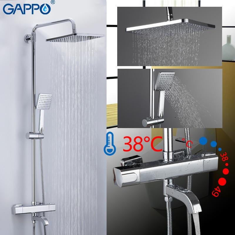 GAPPO Shower system shower faucet bath mixer bathroom shower bathtub faucet waterfall shower head set thermostatic