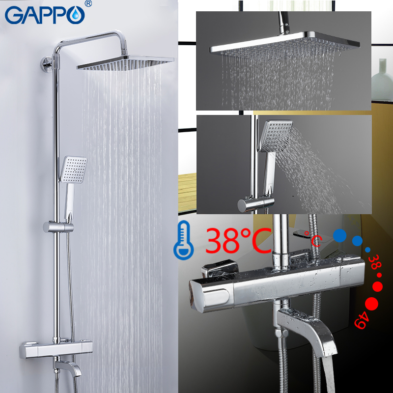 GAPPO Shower System Shower Faucet Bath Mixer Bathroom Shower Bathtub Faucet Waterfall Shower Head Set Thermostatic Mixer