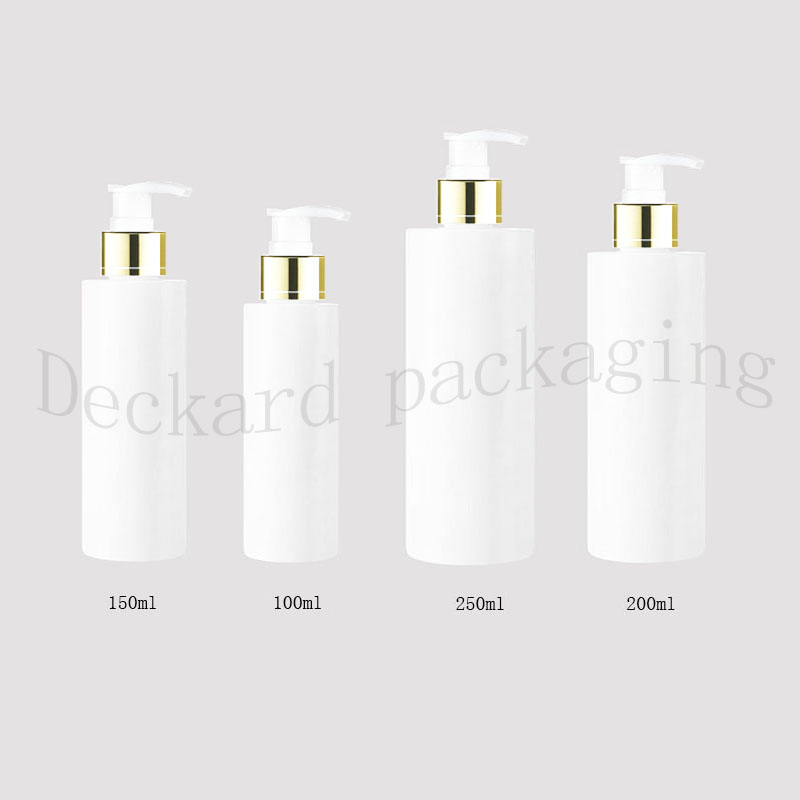 100 150 200 250ml white empty liquid soap gold collar pump container empty cosmetic packaging bottle