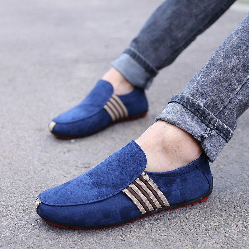 Marca de Moda de Verano Zapatos de Lona de Los Hombres Guisantes Zapatos Planos