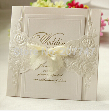 Set Of 20 Ivory Embossed Rosette Rose Flower Wedding Invitation With Organza Bows Party Invite