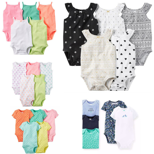 b8bc7bede 5 Pieces/Lot Baby Bodysuits Sling Sleeveless Short Sleeved Cotton Baby  Jumpsuit Baby Clothes Dot