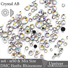 Upriver SS4 - SS50   Mix Size Hot Fix Iron on Stones Flatback Glass Crystal  AB 5174ab6a2543