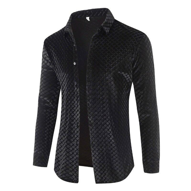 2019 Spring Autumn New Men's Velvet Plaid Shirts Male Long Sleeve Slim Fit Soft Comfortable Shirt Casual Business Tops Coat 3XL
