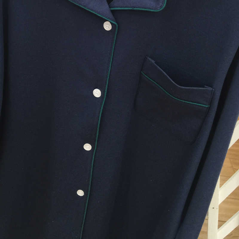 Джинсовая синяя Корейская версия новой пары пижамы Весна и осень хлопок с длинными рукавами кардиган домашний костюм женщины