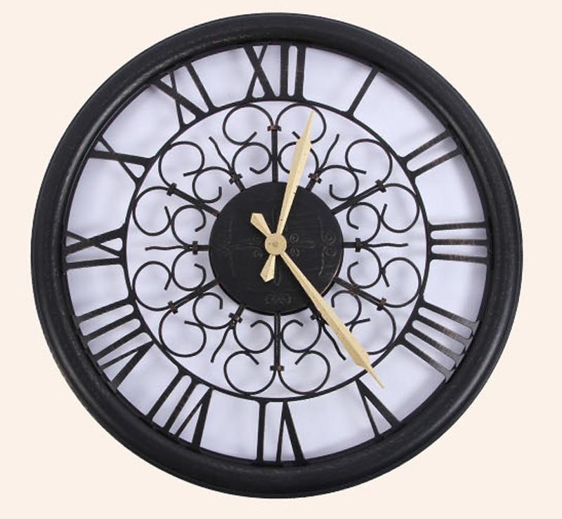 Achetez en gros noir forg mur de fer horloges en ligne for Horloge en fer forge noir