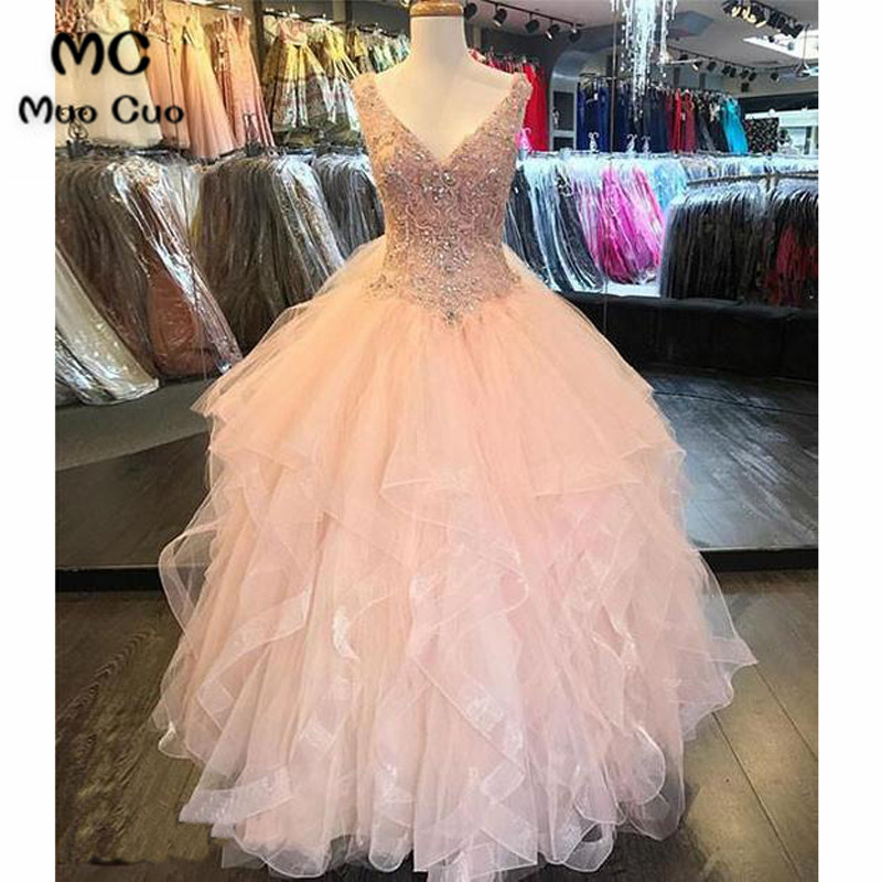 Luxuries 2018   Prom     dresses   Long with Crystals Ball Gown V-Neck Organza Ruffles graduation   dresses   Evening   Prom     Dress   for Women