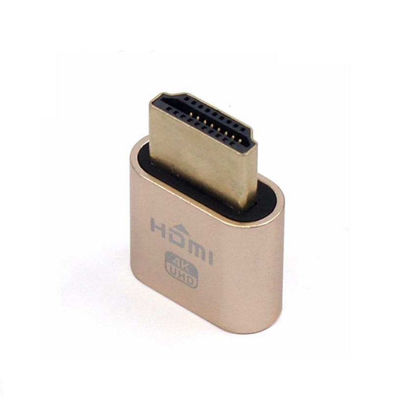 100PCS HDMI 1.4 DDC EDID Dummy Plug VGA Virtual Display Adapter Headless Ghost Display Emulator Video card Lock plate