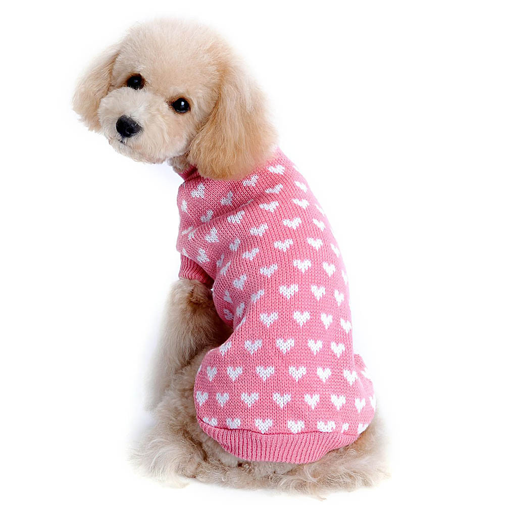 MOLAVE Pet Dog Sweater for Winter Pets Love Heart Design Sweater July7
