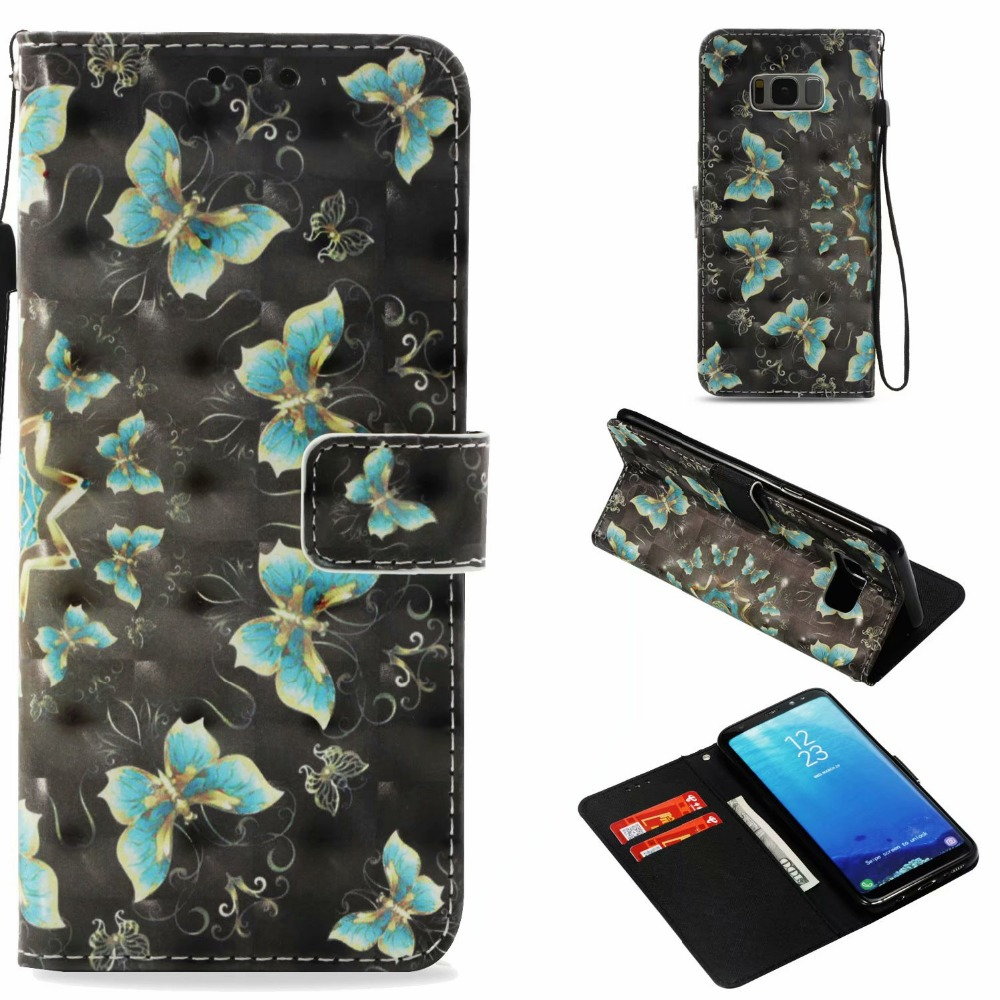 3D Embossed Unicorn Butterfly Owl Wallet Leather Case For Samsung Galaxy S7e S8 Plus PU Leather Flip Cases For Galaxy S7 S8 S9