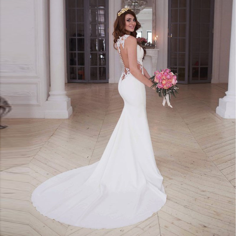 Personnalisé Sexy voir à travers le dos blanc ivoire robe de mariée sirène robes de mariée Appliques dentelle plage robe de mariée
