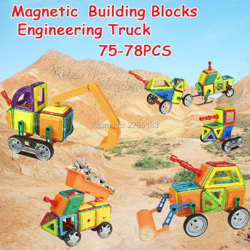 Magnetic Building Blocks Set Engineering Vehicles Series Assemble Bricks Construction Educational Toys For Kids  75/76/78PCS 68pcs magnetic building blocks educational toys for kids