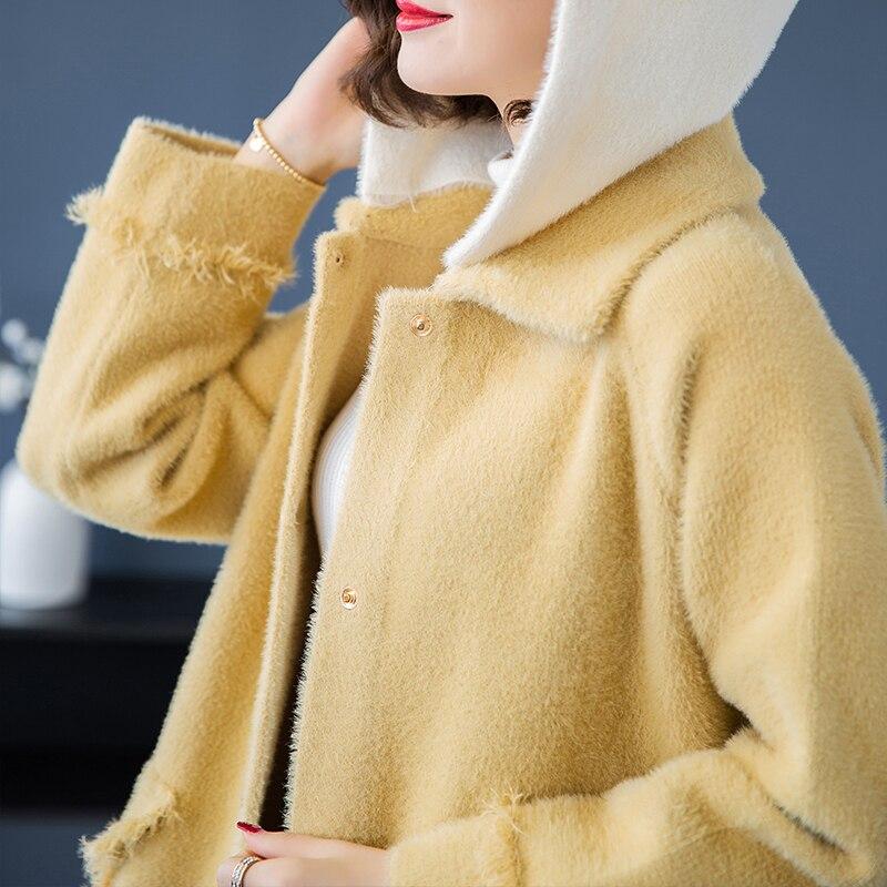 Bleu Manteau À Mode Gland Hiver Chaud jaune De Nouveau Automne Femmes Poches Lâche Couleur Hit Femelle Épaississent Casual Marque pourpre Capuchon Long fxqgwHg