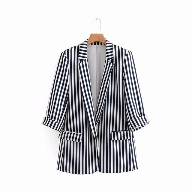 Women Black White Strip Quarter Sleeve Blazer Casual Office Jackets and Suit Double Pockets Work Clothes Coat Autumn 2018