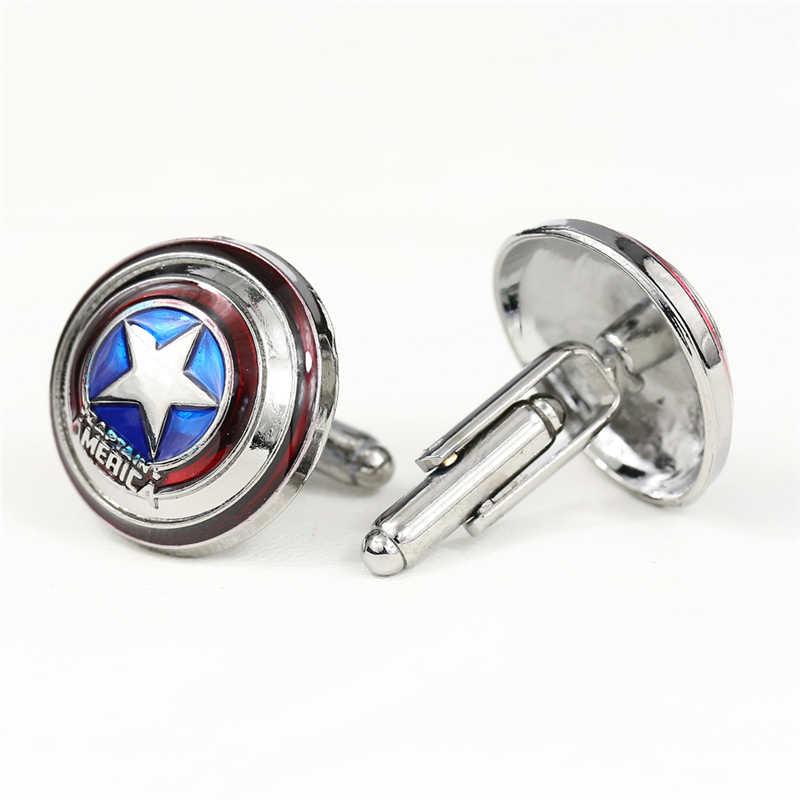 J mağaza kaptan amerika gömlek kol düğmesi Mens için süper kahramanlar çinko alaşım manşet moda film takı hediye erkek arkadaşı için