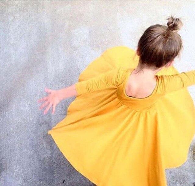 Новые 2017 новорожденных девочек 100% хлопок платья до колен 3/4 рукав дети весна лето платье принцессы 1-4Y бесплатная доставка
