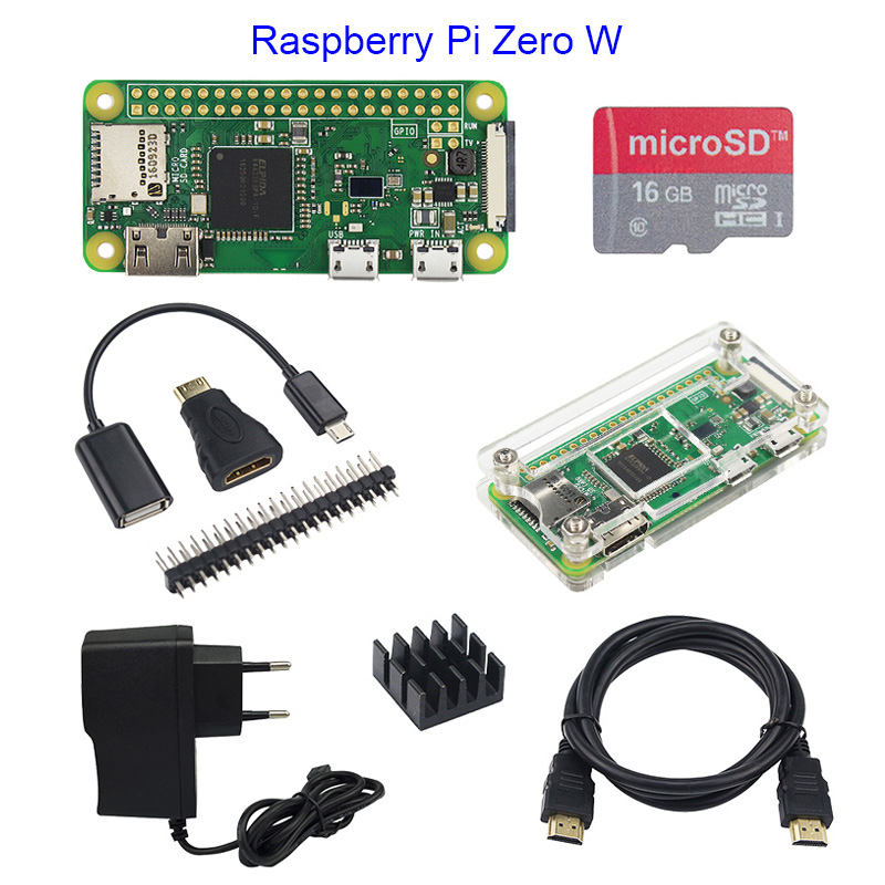 Hot Sale Raspberry Pi Zero 1.3 or Raspberry Pi Zero W Starter Kit+Acrylic Case+GPIO Header+16G SD Card+Power Adapter+HDMI Cable audio video hdmi cables male to male female adapter micro usb to usb cable wire male header gpio pins for raspberry pi zero kit