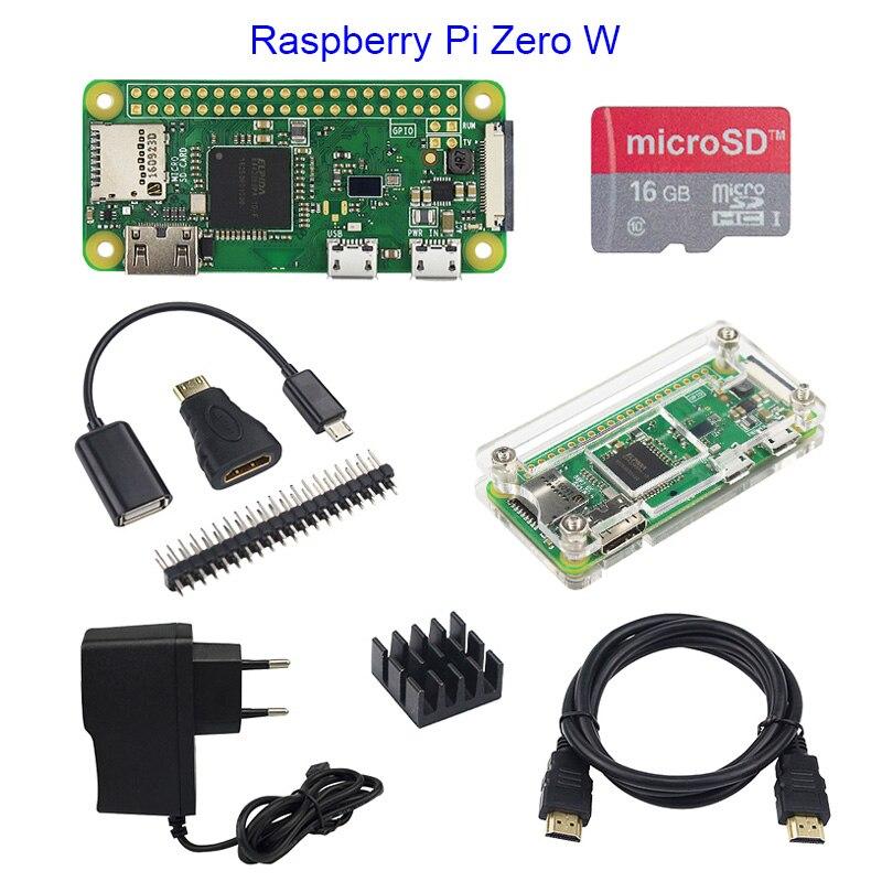 Venda quente de Zero Zero 1.3 ou Raspberry Pi Raspberry Pi W Starter Kit + Estojo de Acrílico + GPIO Header + 16g Cartão SD + Adaptador de Alimentação + Cabo HDMI