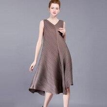 Летнее элегантное платье miyak дизайнерскими складками v-образным вырезом без рукавов Для женщин платье большой Размеры Повседневное трапециевидной формы Платья для женщин для Для женщин d0890