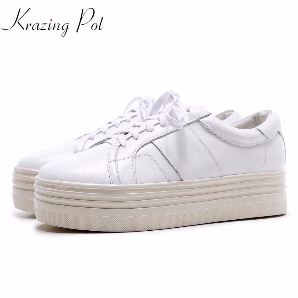 Krazing Pot genuine leather solid white color flat with platform lace up round toe loafers sneakers vulcanized casual shoes L88 tfsland men women genuine leather loafers students white shoes unisex spring round toe lace up breathable walking shoes sneakers
