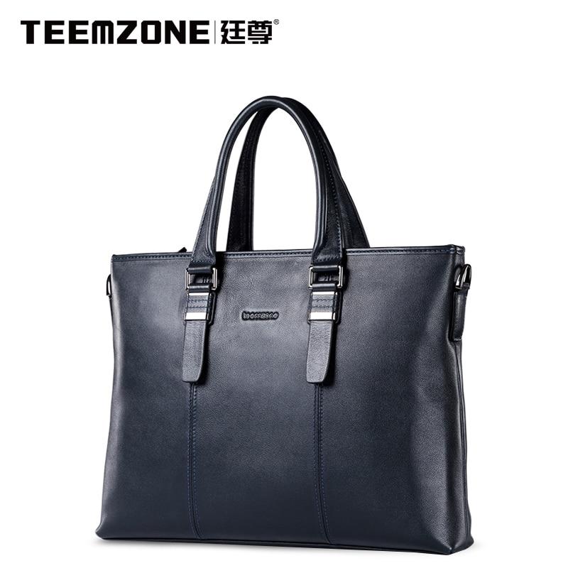 Business Fashion Genuine Leather High Quality Black Dig Bag Male Handbag Design Famous Teemzone Brand Men Shoulder Crossbody Bag