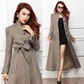 Moda outono Mulheres Elegantes De Lã Long Slim Trench Coat, feminino 2014 Nova Chegada Formal de Cintura Alta de Lã Revestimento de Poeira Para A Mulher