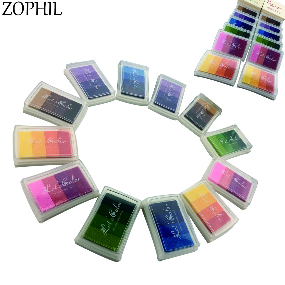 ZOPHIL 4in1 Colors Silicone Stamps Ink Scrapbooking Stamping DIY Crafts Painting Decoration Card Making School Supplies C 20 colors can choose diy scrapbooking vintage crafts ink pad colorful inkpad stamps sealing decoration stamp