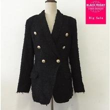 HIgh quality women blazer tweed jacket coat autumn fashion metal button double b
