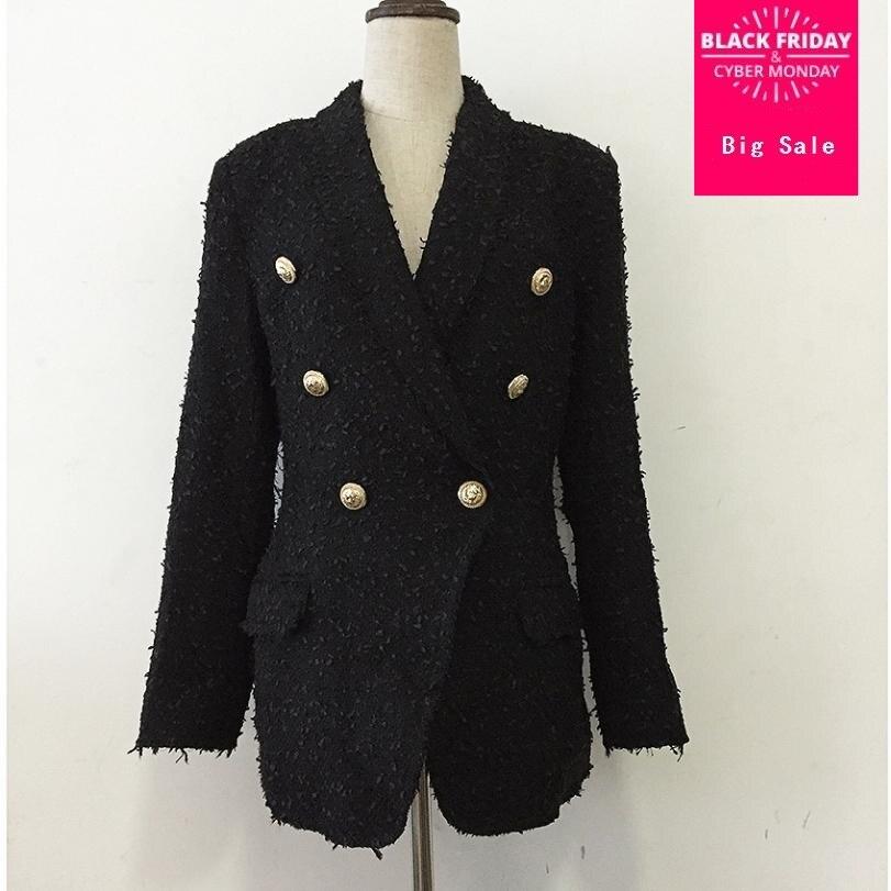HIgh Quality Women Blazer Tweed Jacket Coat Autumn Fashion Metal Button Double Breasted Lapel Long Sleeve Elegant Overcoat L1361