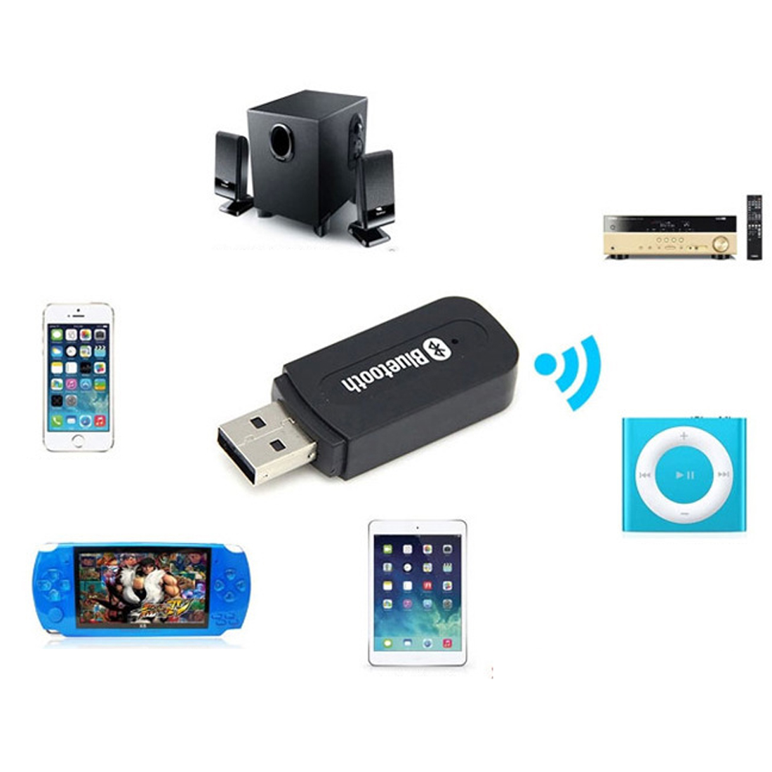 Image 3 - 3.5mm Jack USB Wireless Bluetooth Music Audio Receiver Dongle Adapter for Aux Car PC for Iphone for Samsung IOS Android Phone-in Network Cards from Computer & Office