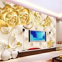 Custom Gold Flower Soft Bag Papel Mural 3d Wall Murals Wallpaper For TV Background 3D Wall