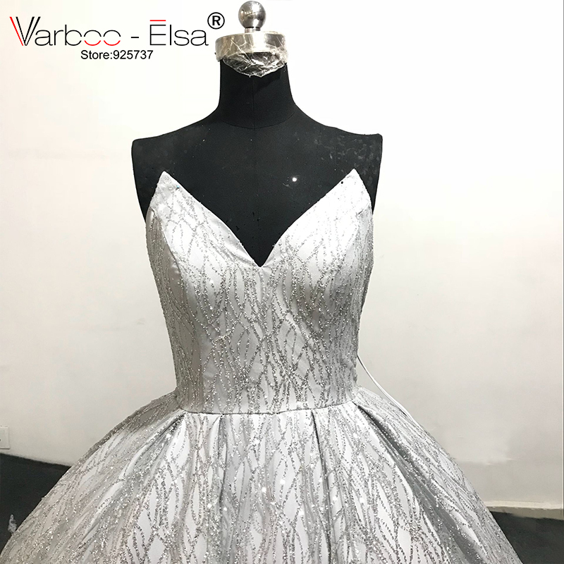 VARBOO ELSA 2018 New Shiny Silver ballgown Sequined Sexy V neck Prom Gown  Detachable Shoulder Strap Evening Dress robe de soiree-in Evening Dresses  from ... 68e4e326cb6e