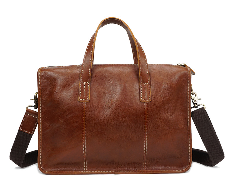 Nesitu Messenger Bags Genuine-Leather Portfolio Shoulder-Bag Men Briefcase Brown Vintage